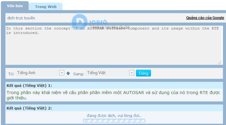 Ví dụ điển hình của một công cụ dịch của Việt Nam
